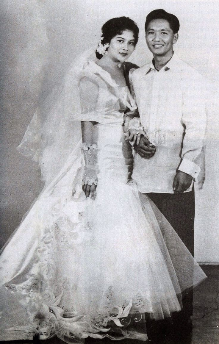 The President of the Philippines,Ferdinand Marcos, and his wife Imelda ,on their wedding day.