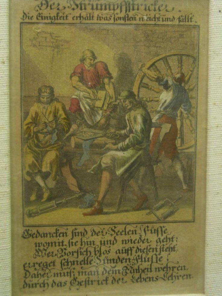 kolorierter Kupferstich 1698 Beruf der Strumpfstricker Mode Strümpfe Schuhmacher   eBay