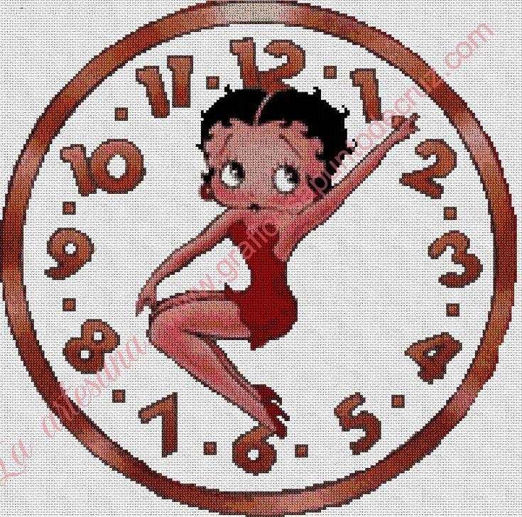 Gráfico a punto de cruz - Reloj Betty Boop 36 x 36 cm