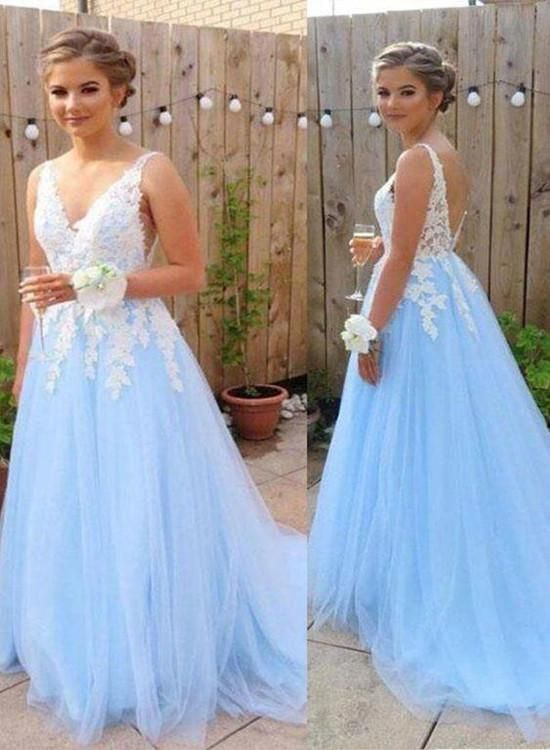 Charming Light Blue V-neckline Tulle Prom Dress with Applique, Lovely – BeautyDressy