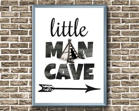 Little Man Cave Print  Baby Boy Nursery Print  Little Man