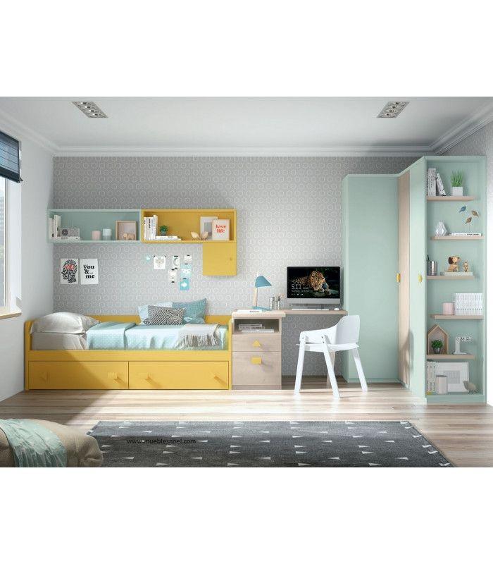 Dormitorio juvenilValladolid con amplios armarios,cama-nido con dos grandes cajones, mesa estudio en rincón y librerías.