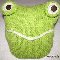 Dětská pletená čepička Žabka, zelená. Baby cap Frog, handmade, knitting.