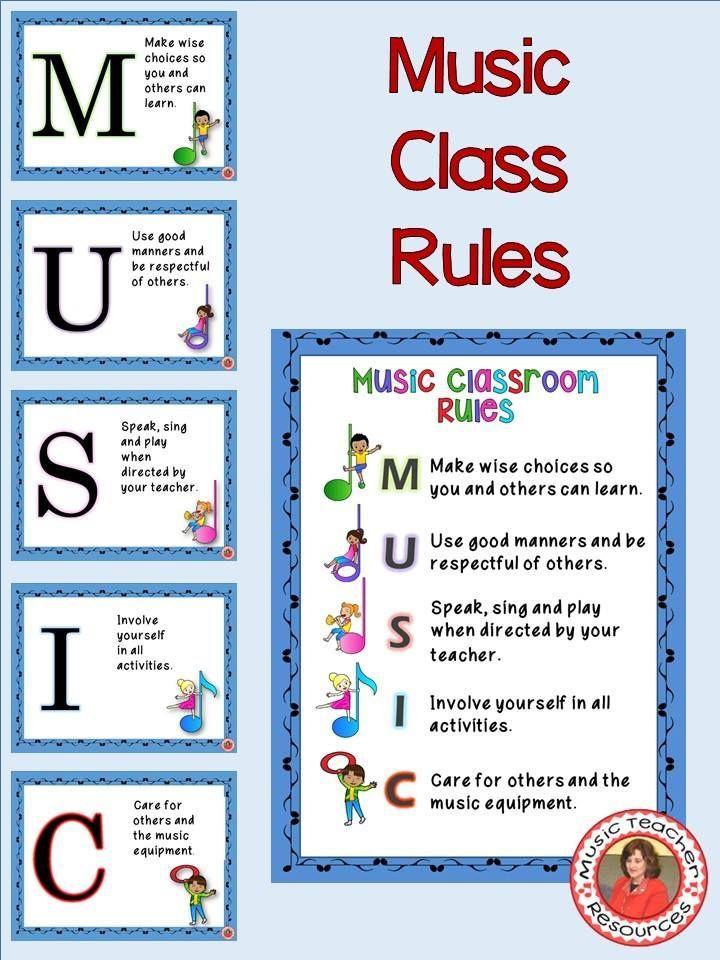 Music Teacher Classroom Decorations ~ Music classroom decor set class rules posters