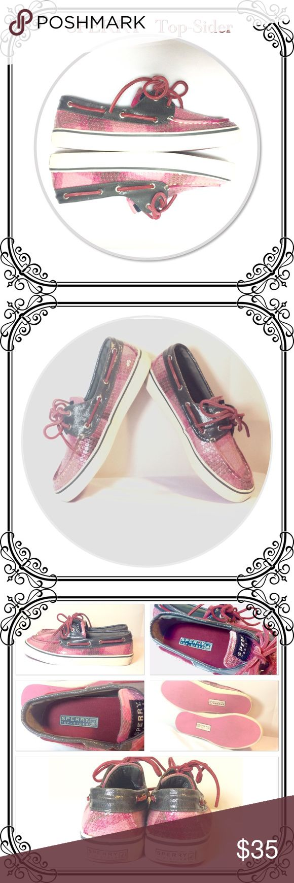 SPERRY Boat Shoes. OBO Excellent Used Condition, Like new almost! Dark gray with plaid pink and cranberry. Size 6m women. Sperry Top-Sider Shoes Flats & Loafers