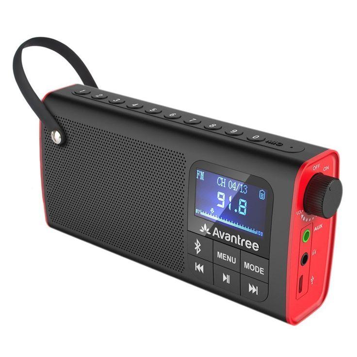 Avantree 3-in-1 Portable FM Radio mit Bluetooth Lautsprecher und SD Kartenspieler, Auto Scan & Save, LED Display, Aufladbare Batterie - SP850