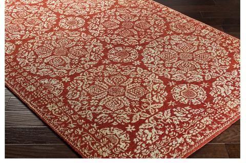 elegant dark red rug with gorgeous medallion pattern