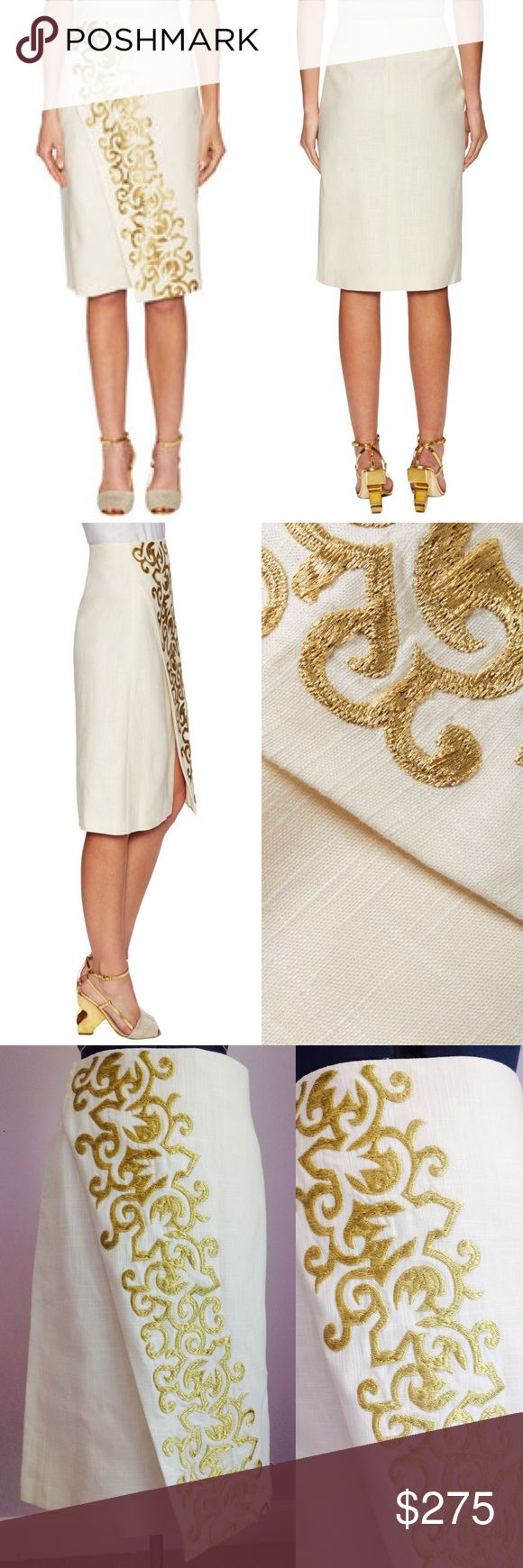 TORY BURCH Kathleen Ivory Embroidered Gold Skirt TORY BURCH Kathleen Ivory Embroidered Gold Skirt. Size 2. New with tags. Shell: 55% Linen - 45% Viscose. Lining: 100% Cotton. A-line. Below the knee. Sits at hip. Wrap effect with Asymmetric front slit. Metallic Embroidery detail throughout. Hidden zipper with hook-and-eye closure at center back. Returns: this skirt is as gorgeous as delicate. Any sign of wear, stains or removal of tags will not be accepted for return of this item. Thank you…