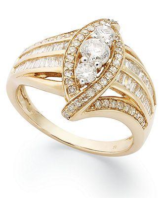 Diamond Ring, 14k White Gold Diamond 3 Stone Ring (1 ct. t.w.)