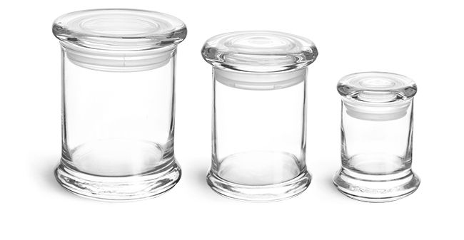 SKS Bottle & Packaging, Glass Jars, Clear Glass Candle Jars w/ Glass Flat Pressed Lids