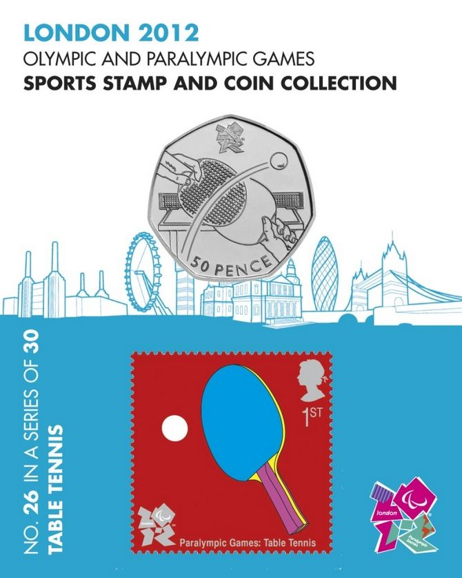 Table Tennis Sports 50p Coin & Sport Stamp - London 2012 Olympic Games No.26 #FineGifts #London2012OlympicCoins