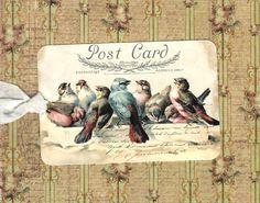 Tags, Vintage stijl, Bird labels, alle gelegenheid Tags, Blue Bird, briefkaart…