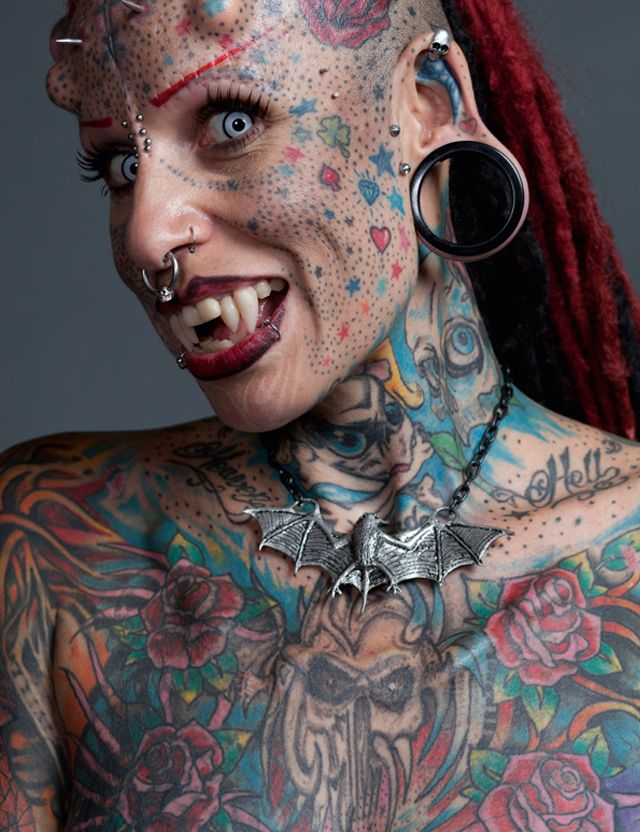 """Maria Jose Cristerna, known as the """"Vampire Woman"""" because of her extreme body modifications, including hundreds of tattoos, skin implants, and permanent fangs   Ripley's Believe It or Not!"""