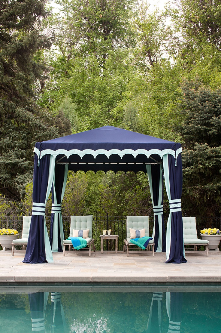when we build the pool I MUST have a tent. But black and white stripes with a gold spindle at the top