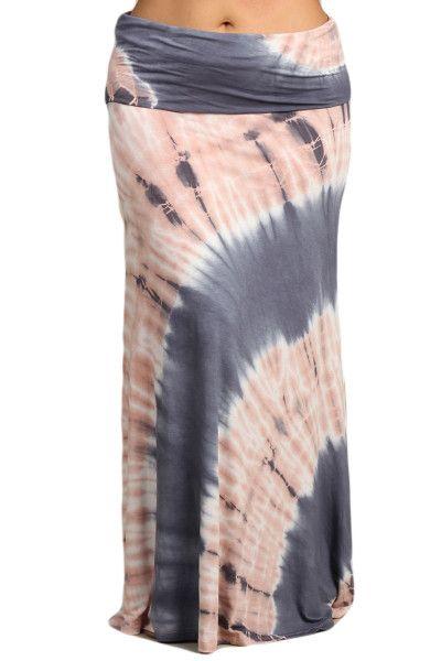 Womens PLUS SIZE Gray & Pink Tie Dye Boho Maxi Skirt