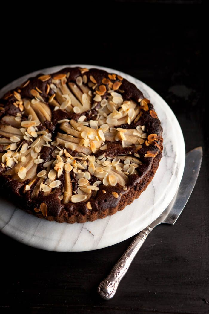 Chocolate and pear frangipane tart Photography Samantha Linsell | DrizzleandDip.com