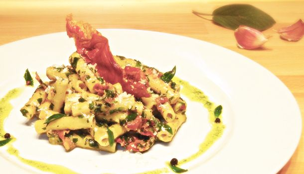 Ziti with Bladder Campion and Parma Ham