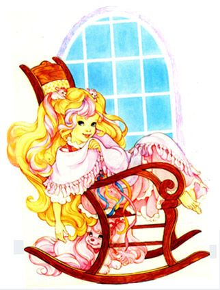Lady Lovely Locks sitting in a rocking chair with SilkyPup.