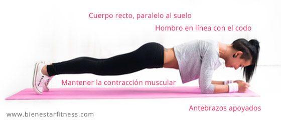 La plancha de abdominales (plank), es uno de los ejercicios para la zona del abdomen más completos. Como hacer plancha abdominal correctamente. Ver vídeo.