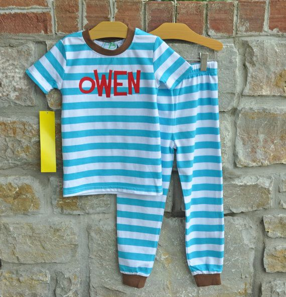 Perfect Pajamas - Personalized Monogram Boy PJs - Size 12m - 8 years - JULIANNE ORIGINALS on Etsy, $26.00