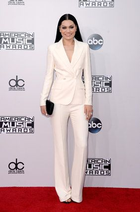 Jessie J in hot white suit at the American Music Awards Red Carpet 2014