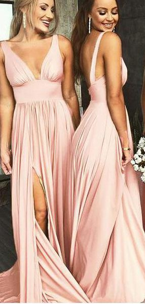fd3f113d92a30 Simple Cheap Long Bridesmaid Dresses with Slit V Neck Formal Dress PB10108  in 2019 | SheerGirl | Bridesmaid dresses, Fall bridesmaid dresses, ...