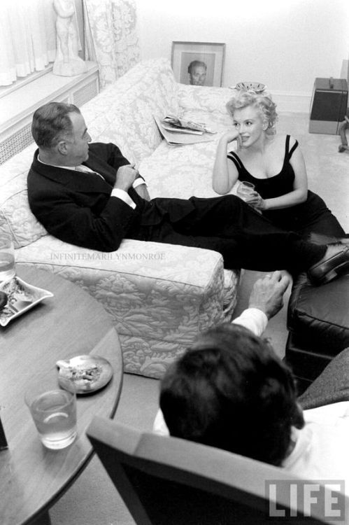 """""""Marilyn Monroe and Arthur Miller in their New York apartment with Kermit Bloomgarden, 1958. """""""