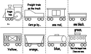 """**This must be printed on LEGAL paper**  Print the page on LEGAL paper.  Have the children cut down the center on the SOLID line.   Tape the top row of train cars to the bottom, only overlapping 1/8"""".  Accordion fold the booklet.   Have the children color the cars the appropriate color."""
