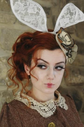 White Rabbit lace bunny ears headband by talulahblue for $45.00