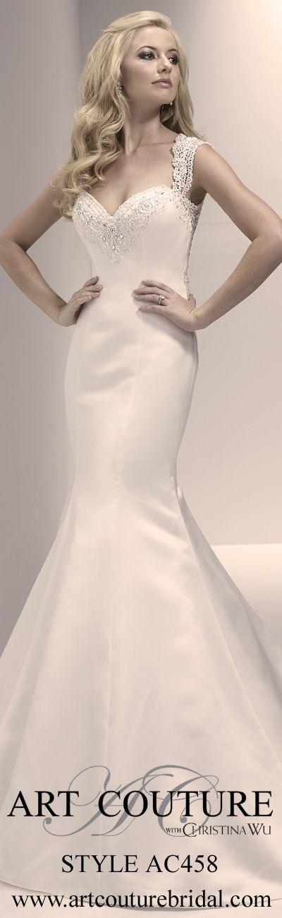 Style AC458 www.artcouturebridal.com #wedding #dress #bridal #ArtCouture #satin #crochetage #illusionback #mermaid