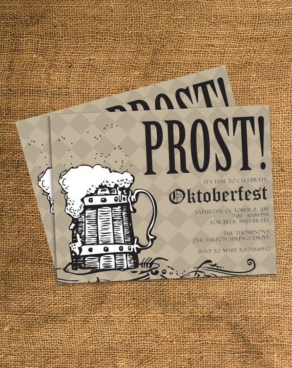 PRINTABLE Oktoberfest Party Invitation - Any Color - Any Text. $15.00, via Etsy.