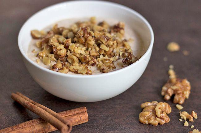 7+High-Protein,+Low-Carb+Breakfast+Recipes : Pumpkin pie yogurt with walnuts