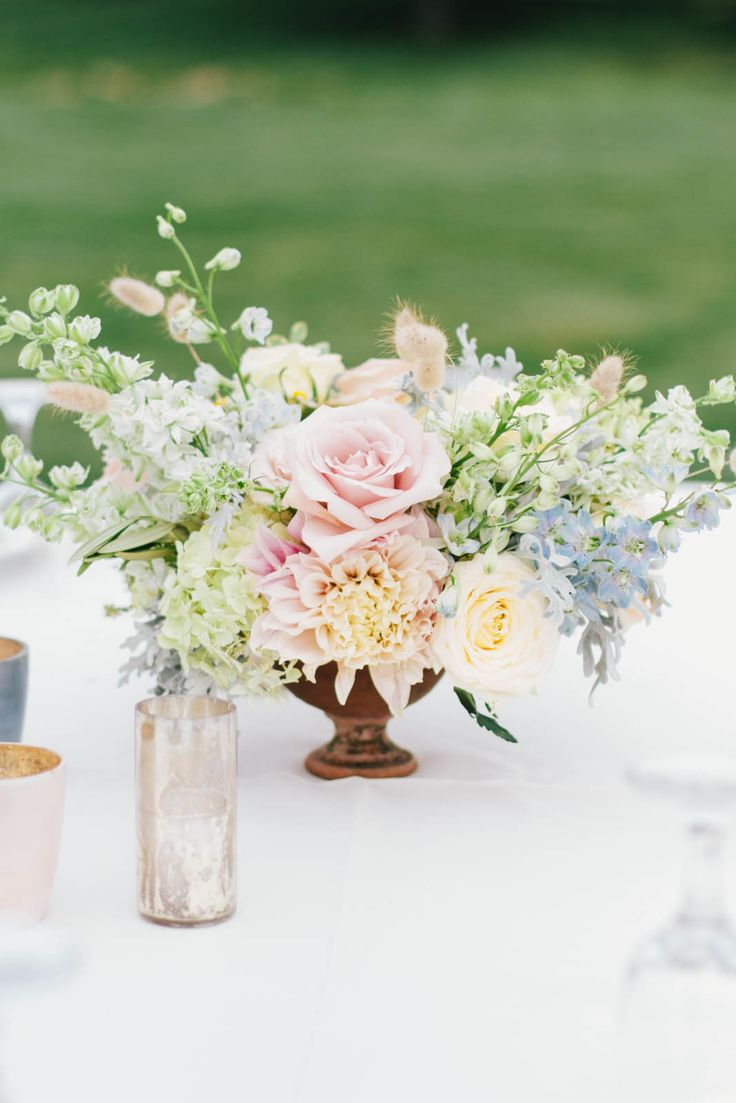 Dahlia & Rose Centerpiece from Honey of a Thousand Flowers  - SarahWinward.com -- See the wedding on #SMP right here -- http://www.StyleMePretty.com/little-black-book-blog/2014/04/11/beautiful-high-star-ranch-wedding/ KateOsbornePhotography.com