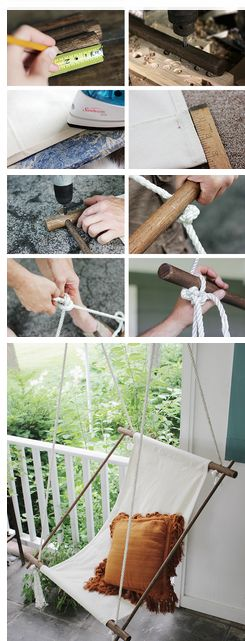 What you need: -Three 1.25″ Oak Dowels -Two 5/8″ Oak Dowels -About 20′ of 1/2″ Rope (Make sure weight limit is at least 300 lb.) -Canvas Drop Cloth -Sewing Machine -Drill -Tape Measurer -Scissors -Stain (Optional)