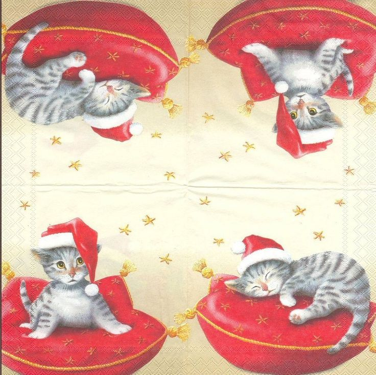 3 Serviettes en papier Cocktail chat de Noël - Paper Napkins Santa Cat