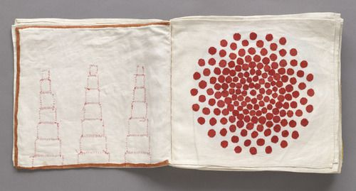 "Untitled, no. 3 of 34, from the illustrated book, Ode à l'oubli, 2002. Louise Bourgeois (American, born France. 1911–2010). Fabric collage, page: 11 3/4 x 13"" (29.8 x 33 cm). Edition: not editioned. Gift of the artist. © 2012 Louise Bourgeois Trust."