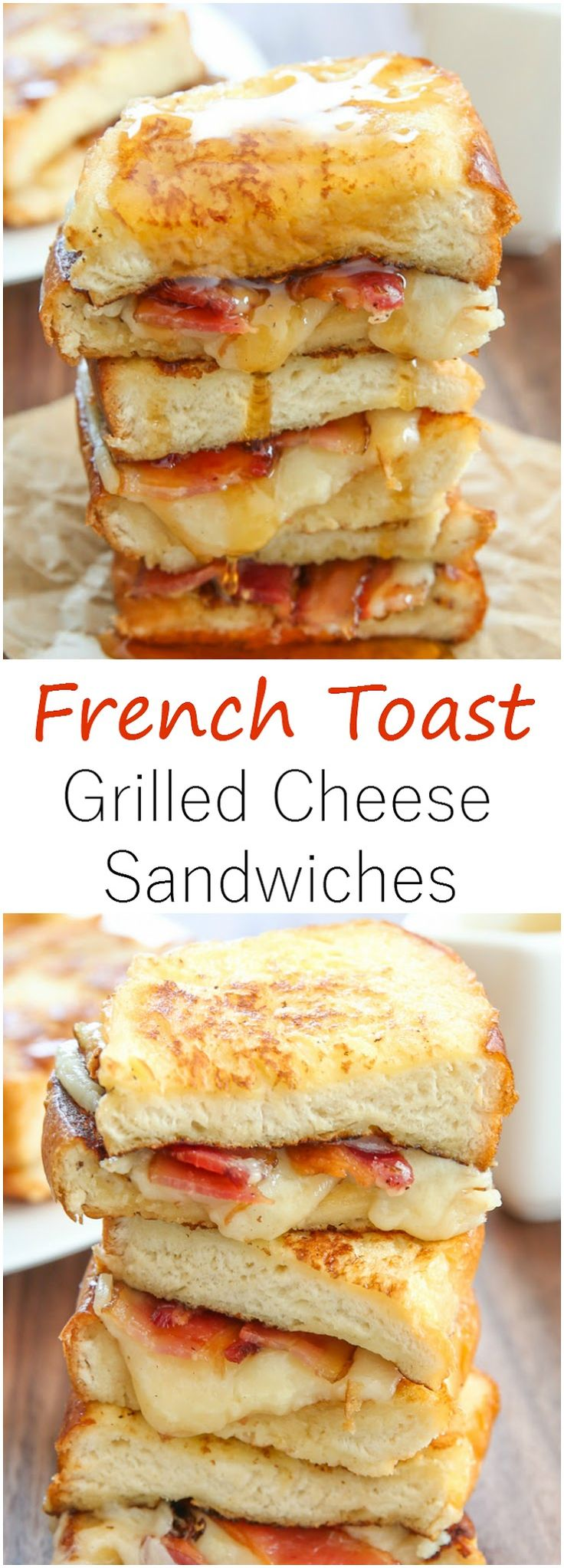 French Toast Grilled Cheese Sandwiches. These make a delicious breakfast sandwich!