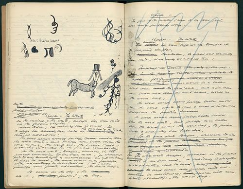 Samuel Beckett notebook. The first notebook of Watt signed and marked 'Watt I,' with the following note: 'Watt was written in France during the war 1940-45 and published in 1953 by the Olympia Press.' On an inserted sheet, Beckett has written, 'Begun evening of Tuesday 11/2/41.'