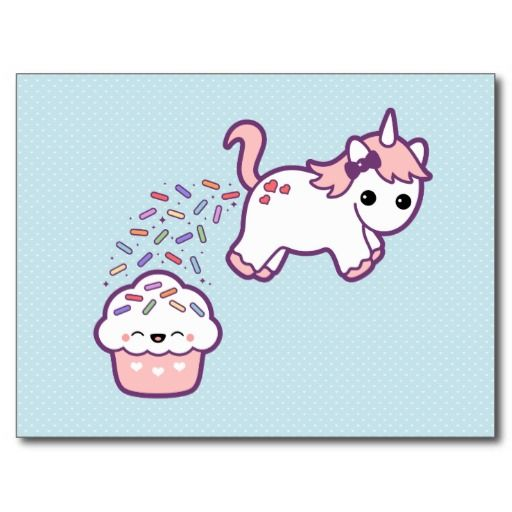 Super cute baby unicorn pooping out rainbow sprinkles on a happy pink cupcake!