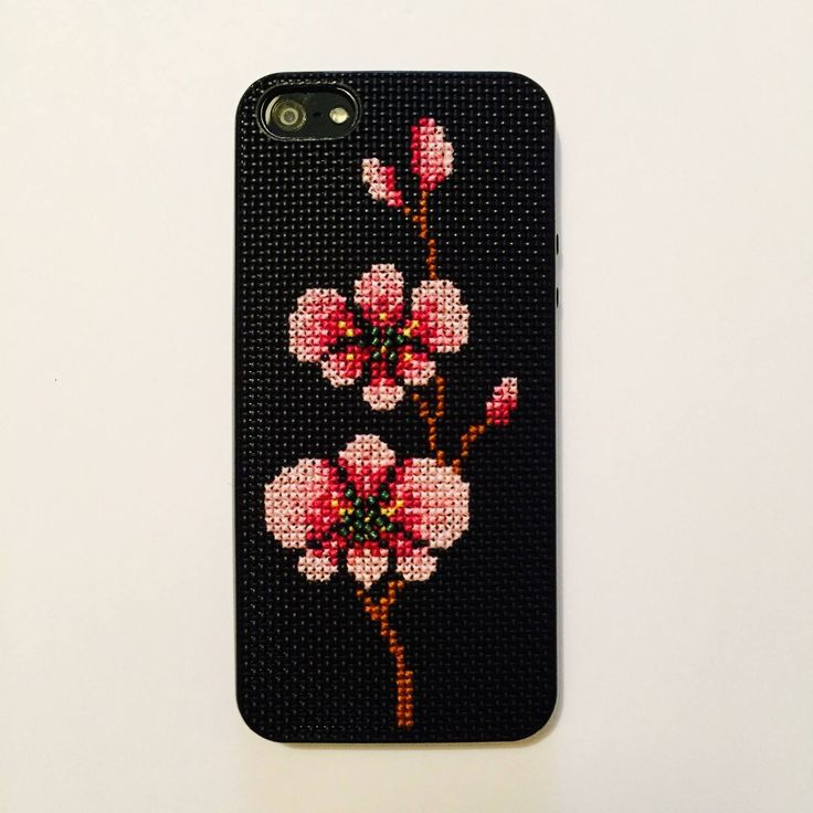 Cherry Blossom DIY iPhone cross stitched case, sewn by Louisa Hammond Dec 2015.