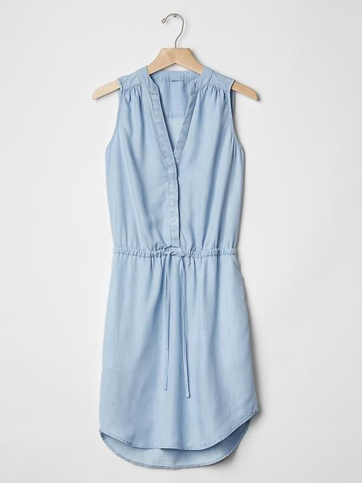 Bought something similar to this & plan to live in it all summer!!! #uniform Tencel® chambray shirtdress | Gap