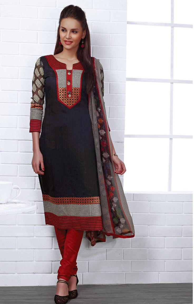 Printed Ch,eri Cotton Kurta Set in Black , Maroon - RmKV Silks