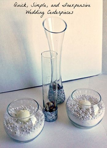 quick-simple-inexpensive-wedding-centerpieces -- vase filler is epsom salt!  Somewhere else suggested coloured aquarium gravel