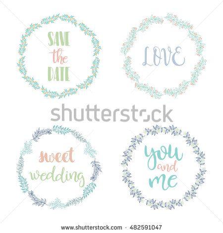 Hand drawn set of wedding wreaths. EPS 10.