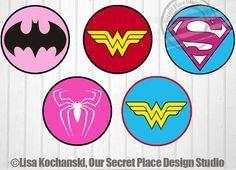 "4"" niña superhéroe insignia pegatinas superhéroe chica símbolos superhéroe muchacha pegatinas superhéroes Logos superhéroe bebé ducha superhéroe decoración del partido"