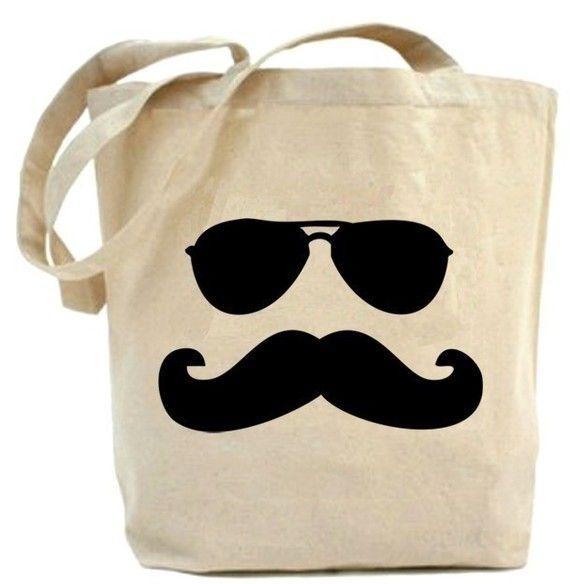 Mustache Man with Sun glasses tote bag - $19.99