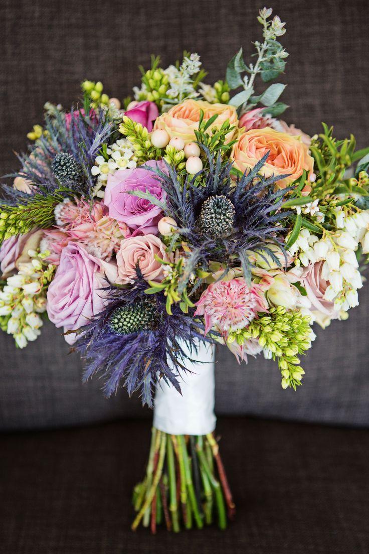 ginger lily and rose, sunshine coast wedding flowers, scottish wedding flowers, sea holly bouquet