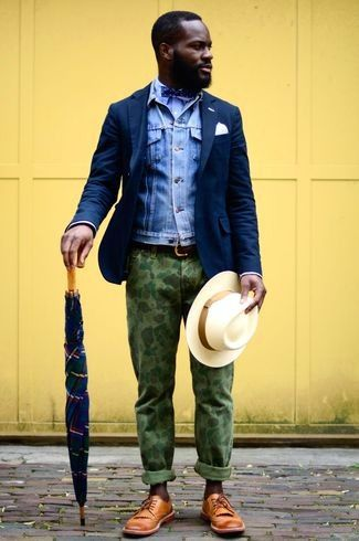 Men's Light Blue Denim Jacket, Navy Blazer, Light Blue Long Sleeve Shirt, Green Camouflage Chinos