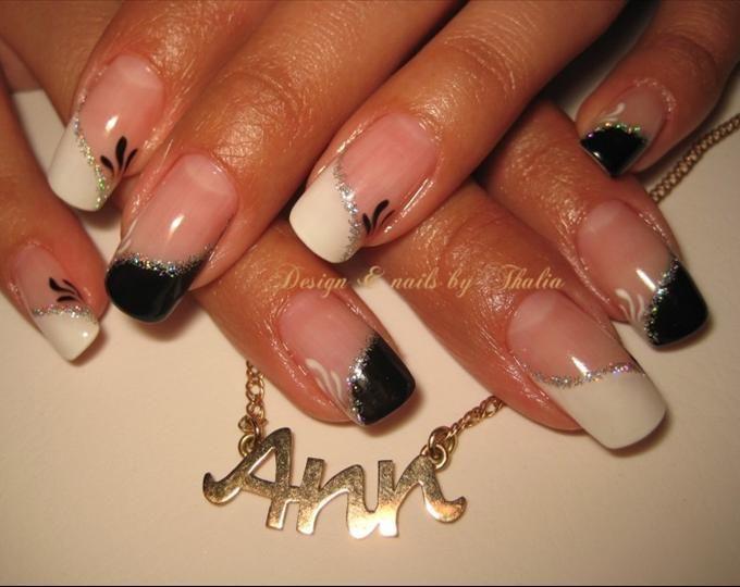 black wedding nail ideas   Black and white french nail art photo