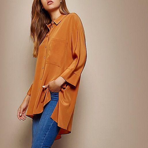 RI Studio oranje lang zijden overhemd - Overhemden - tops - dames
